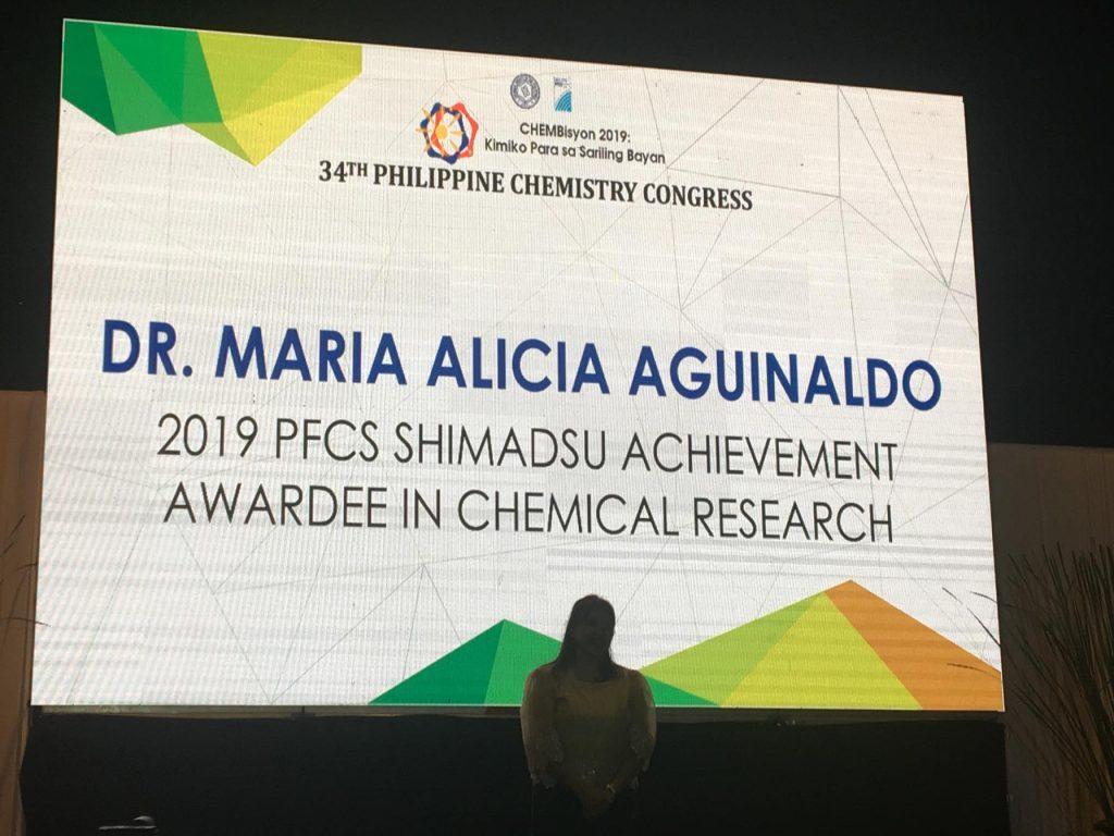 Aguinaldo of Chemistry, RCNAS receives 2019 PFCS Shimadsu Achievement Award for Chemical Research