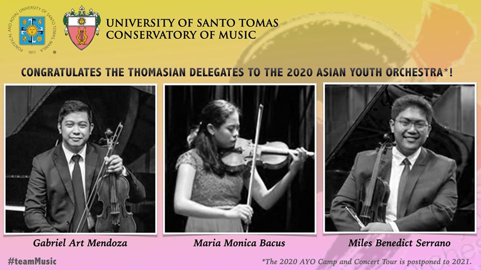 Bacus, Mendoza, and Serrano of UST Symphony Orchestra to play 2020 Asian Youth Orchestra