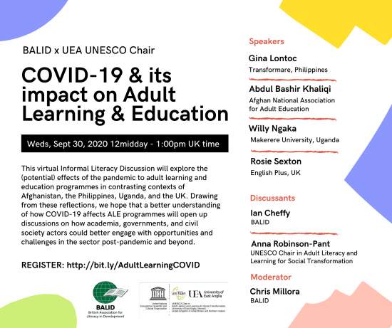 """Invitation to a webinar on """"COVID-19 and its impact on Adult Education and Learning"""""""