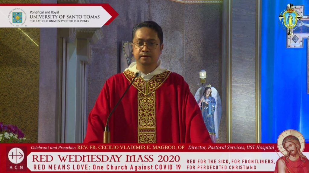 Fr. Magboo leads #RedWednesday campaign mass in honor of persecuted Christians, frontliners