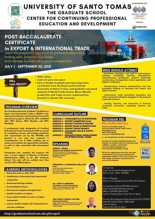 PBCEIT - Post Baccalaureate Certificate in Export and International Trade