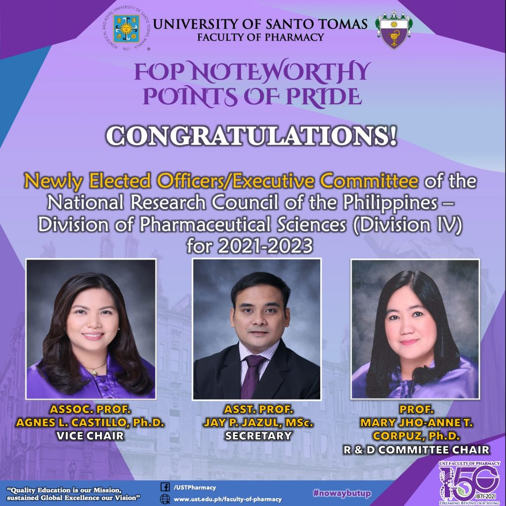 Three pharmacy faculty members to serve NRCP pharma division for 2021-2023
