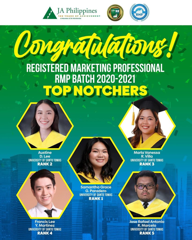 Thomasians sweep top 5 spots in 2021 registered marketing professional certification exams
