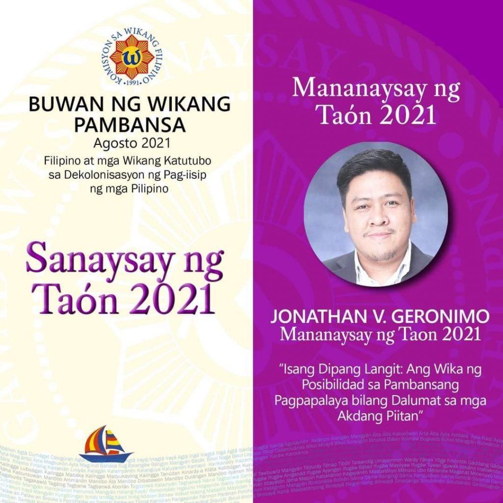 Geronimo of SHS named 2021 KWF Mananaysay ng Taon